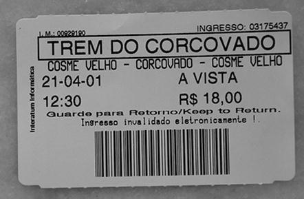 BOLETO DEL TREN AL CORCOVADO